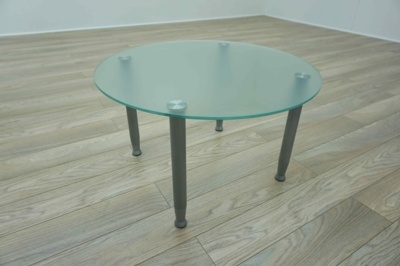 Circular Frosted Glass Office Coffee Table