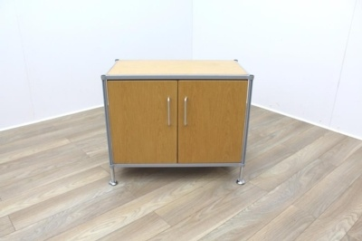 Golden Oak Cupboard with Aluminium Frame