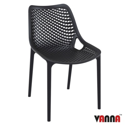 New Black Reinforced Polypropylene & Glass Fibre Stacking Office Canteen Cafe Bistro Chairs