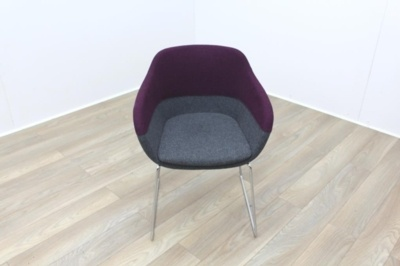 Brunner Purple and Grey Fabric Reception Tub Chair