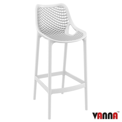 New White Strong Reinforced Polypropylene, Glass Fibre Canteen Cafe Bar Stool