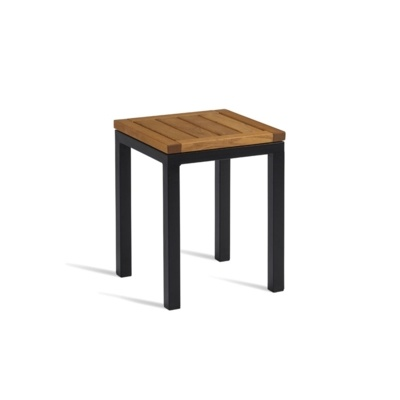New ICE Powder Coated Metal Frame and Robinia Wood Top Canteen Cafe Low Stool
