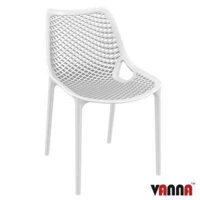 New White Reinforced Polypropylene & Glass Fibre Stacking Office Canteen Cafe Bistro Chairs