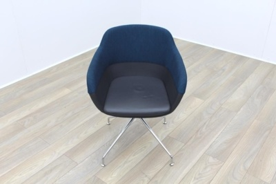 Brunner Blue Fabric Back Grey Leather Seat Reception Tub Chair