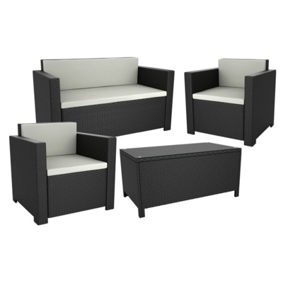 New 4 Piece Black Wicker Solana Weave Rattan Style Garden Furniture Suite, Sofa, Chairs & Coffee Table, Cafe Bistro