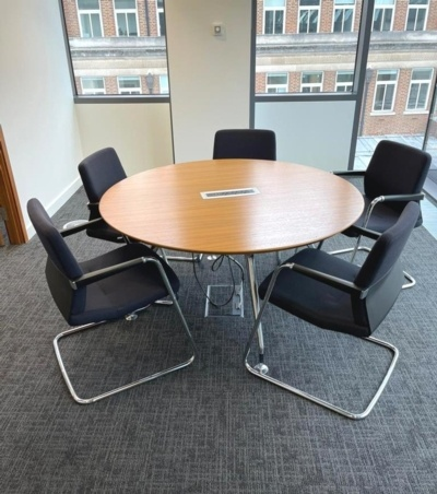 Round Meeting Table With Power Data