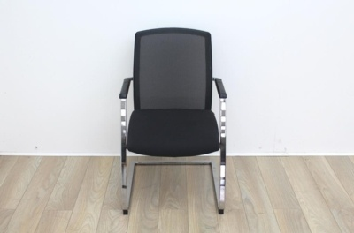 Black Meeting Chair With Mesh Back And Chrome Legs