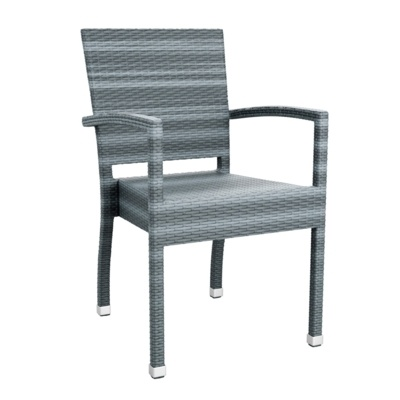 New Grey Wicker Solana Weave Rattan Style Office Garden Canteen Cafe Bistro Chairs