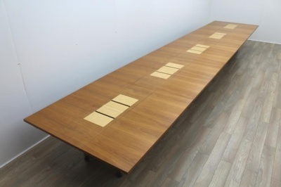 Sven Christiansen 7500mm Modular Folding Walnut / Birds Eye Maple Office Meeting / Training Table