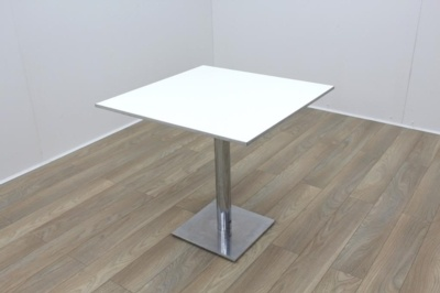 Square White Table Aluminium Edge 800mm