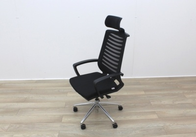 Black Operator Chair With Fabric Seat and Mesh Back