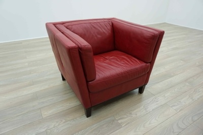 Red Leather Italian Single Seater Office Reception Arm Chair
