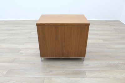 Sven Christiansen Solid Cherry Executive Office Storage Cupboard / Credenza w/ Chrome Legs