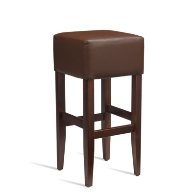 New HEAT Solid Beech Walnut Finish Brown Faux Leather Bar Stool