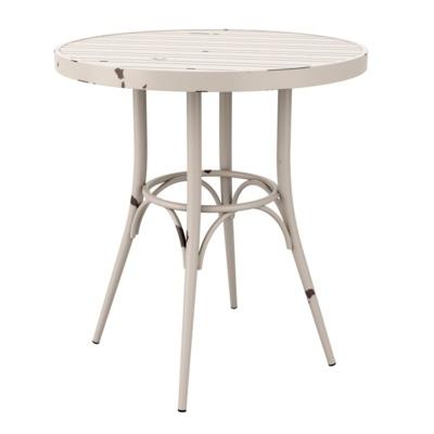 New Cafe White Aluminium Vintage Finish Canteen Café Round Table