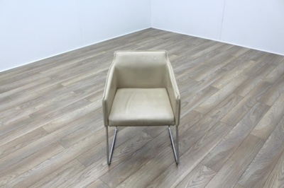 Allermuir Tommo Ivory Leather Chrome Frame Office Meeting / Canteen Chair