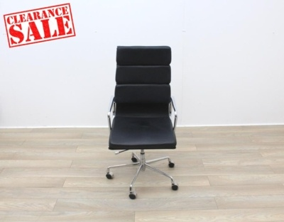 Charles Eames Soft Pad Style High Back Black Leather Faced Task Chair
