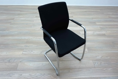 Ocee Design Black Fabric Cantilever Office Meeting Chairs