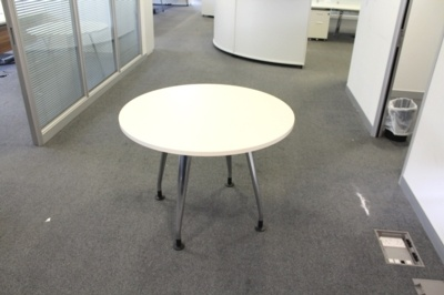 White Verco Round Table With Chrome Legs