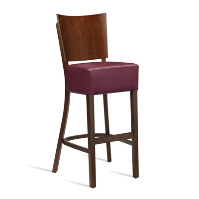New WINE Dark Walnut Solid Beech with Red Faux Leather Seat Pad Side Chair
