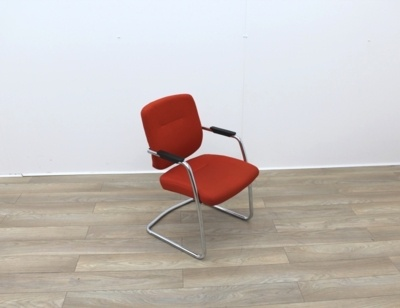 Orange Meeting Chairs With Chrome Frame