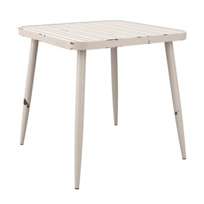 New Cafe White Aluminium Vintage Finish Canteen Café Square Table