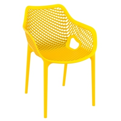 New Yellow Reinforced Polypropylene & Glass Fibre Stacking Office Canteen Cafe Bistro Arm Chairs