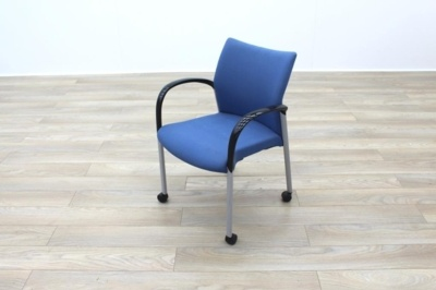 Senator Blue Fabric Stacking Office Meeting Chairs on Castors