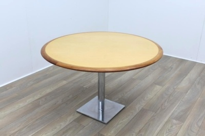 Maple Veneer with Walnut Edge Round Table