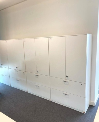 Sedus White Double Door Cupboard With Two Filling Drawers