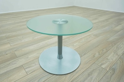 Frosted Glass Circular Office Reception Coffee Table