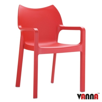 New Red Moulded Plastic Stacking Office Canteen Cafe Bistro Meeting Arm Chairs