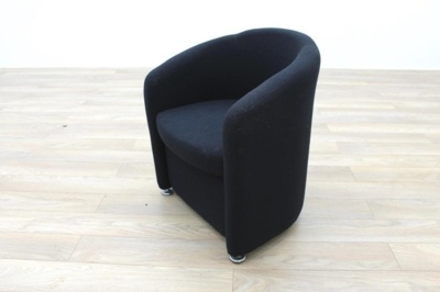 Black Fabric Office Reception Tub Chairs