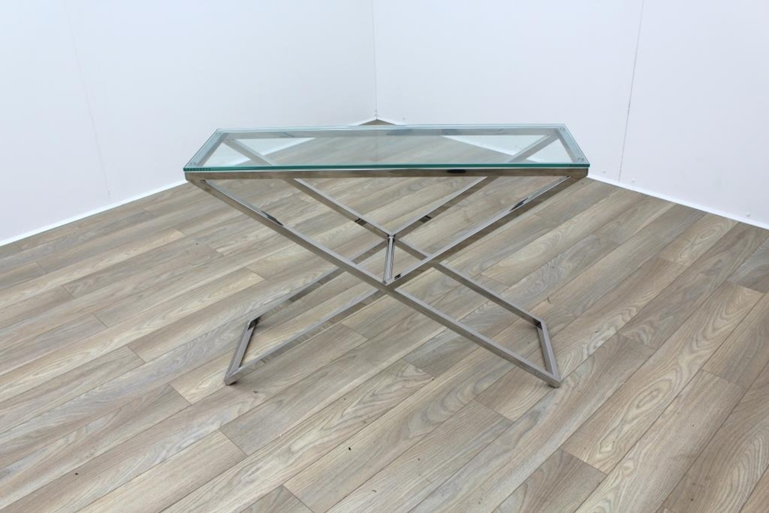 Rectangular tall glass office reception coffee table ebay rectangular tall glass office reception coffee table geotapseo Images