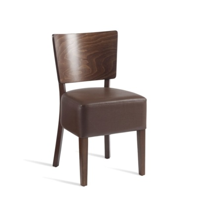 New WINE Dark Walnut Solid Beech with Dark Brown Faux Leather Seat Pad Side Chair