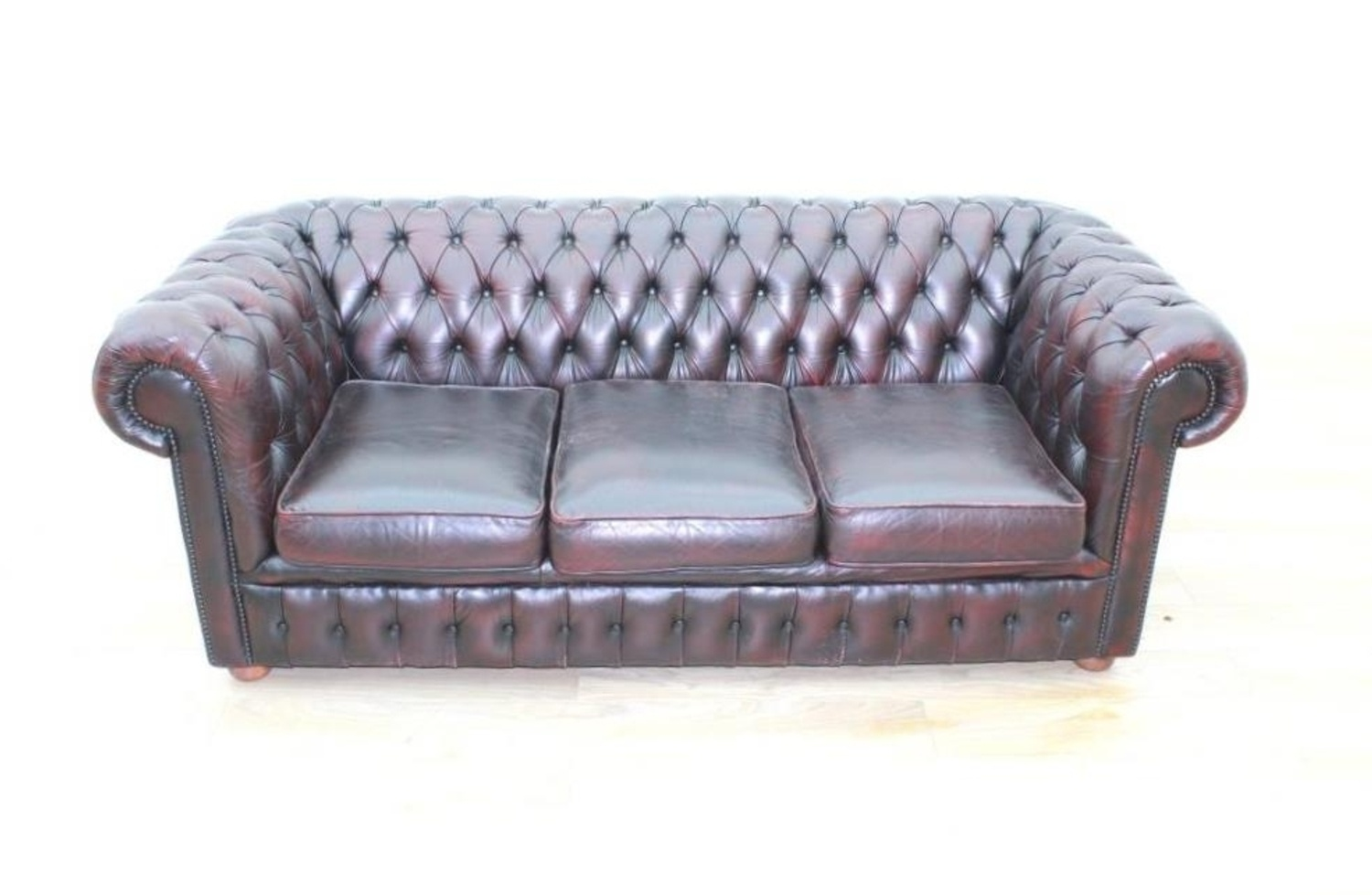 Oxblood Leather Chesterfield Executive Office Reception Sofa