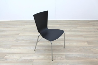 Black Polymer Stackable Office Canteen Chairs