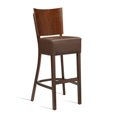 New WINE Dark Walnut Solid Beech with Dark Brown Faux Leather Seat Pad Bar Stool