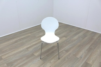 White Wooden Chrome Frame Office Canteen Chairs