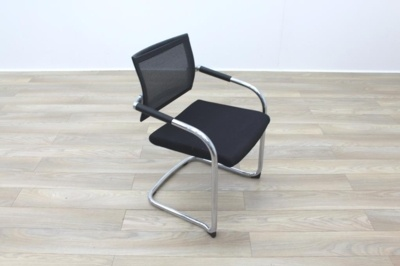 Black Fabric Seat / Charcoal Fleck Back Office Meeting Chairs