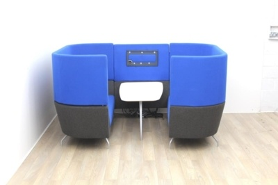 Dark Blue Orangebox meeting sofa with table and tv