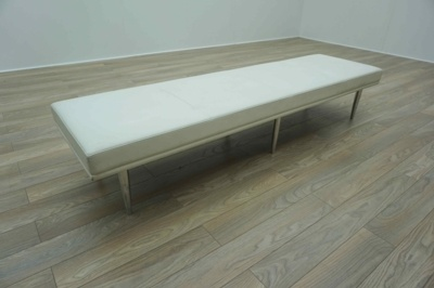 Davison Highely Fifth Avenue White Leather Office Reception Bench Seating