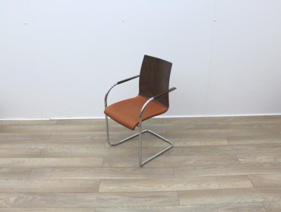 Walnut With Fabric Seat Meeting Chairs