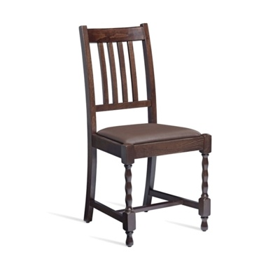 New MARRO Dark Walnut Solid Beech with Dark Brown Faux Leather Seat Pad Side Chair
