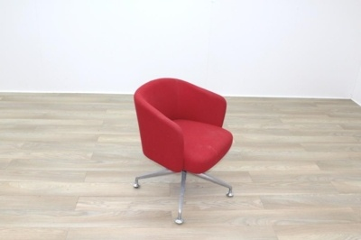 Orangebox HAY Red Fabric Office Reception Tub Chairs