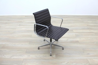 Genuine Charles Eames EA108 by ICF Brown Leather Ribbed Office Chair