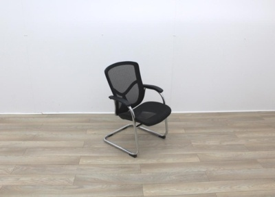 Black Meeting Chairs Mesh Back and Seat with Chrome Base