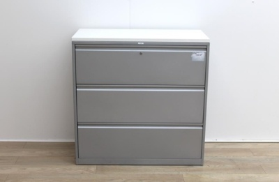 Side metal grey filing cabinets finish with wood top
