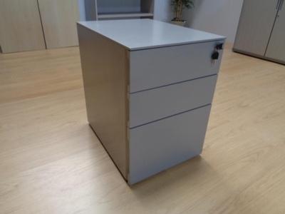 Grey Metal 3 Door Mobile Under Desk Office Pedestals