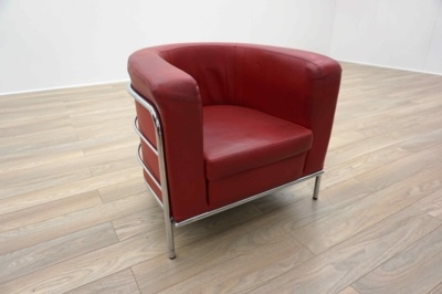 Red Leather Chrome Framed Curved Office Reception Tub Chairs
